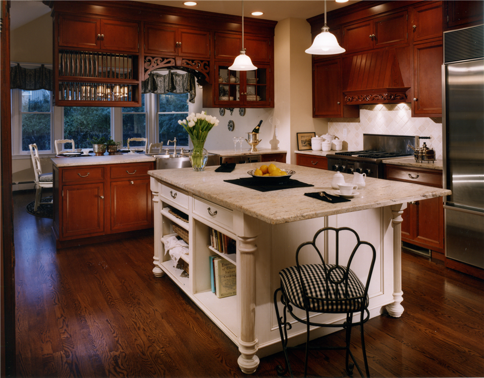 Beaded Inset cherry cabinetry with White painted island