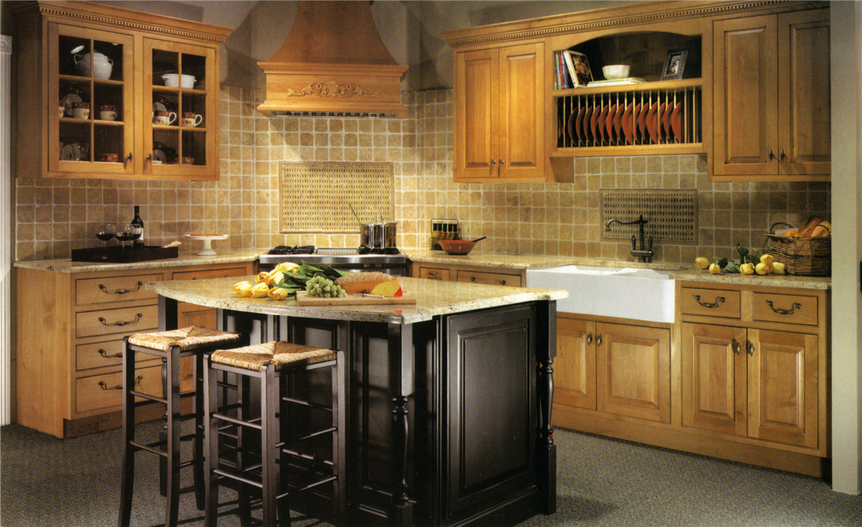Stained alder wood cabinetry
