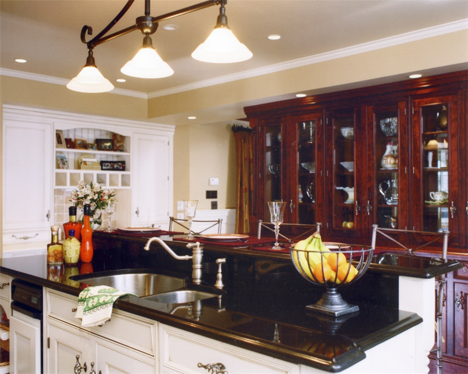 Cherry inset hutch cabinetry