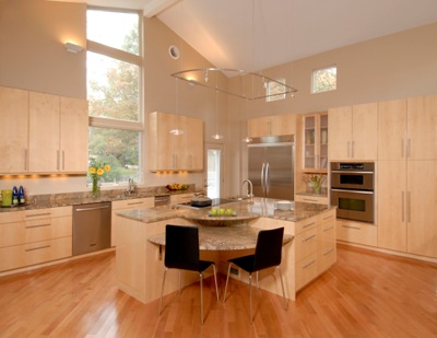 Contemporary flat panel Natural maple high gloss cabinetry