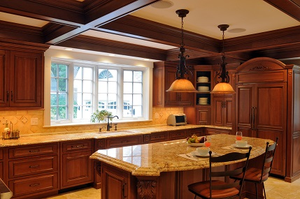 cherry inset kitchen cabinetry