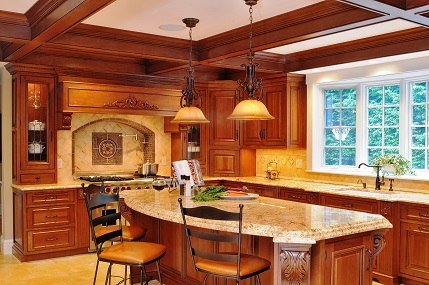 stained & glazed cherry inset cabinetry