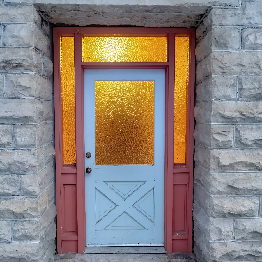 frosted glass entryway