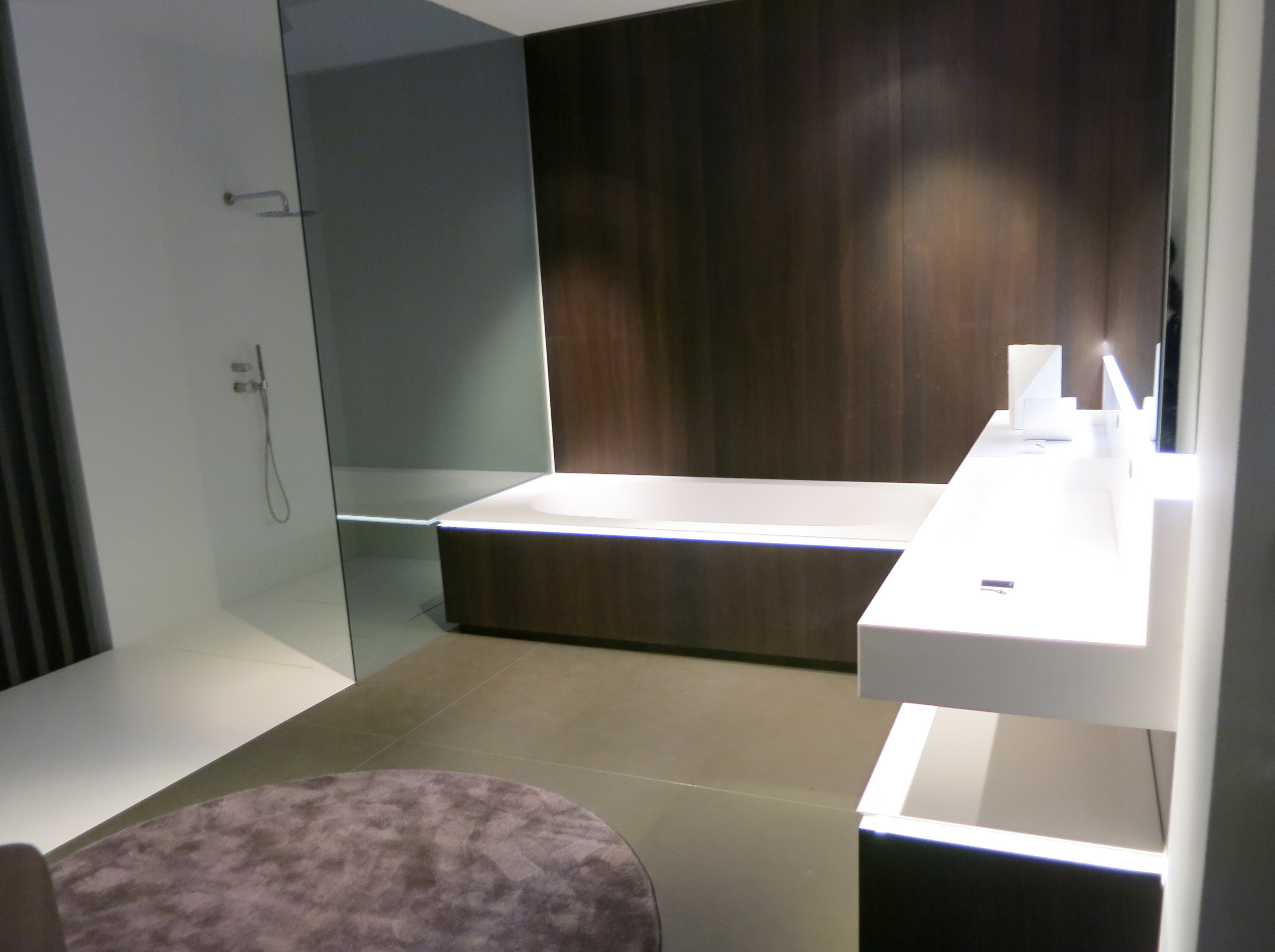 contemporary shower and tub