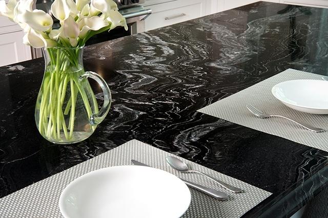 Brookline kitchen, marble island detail