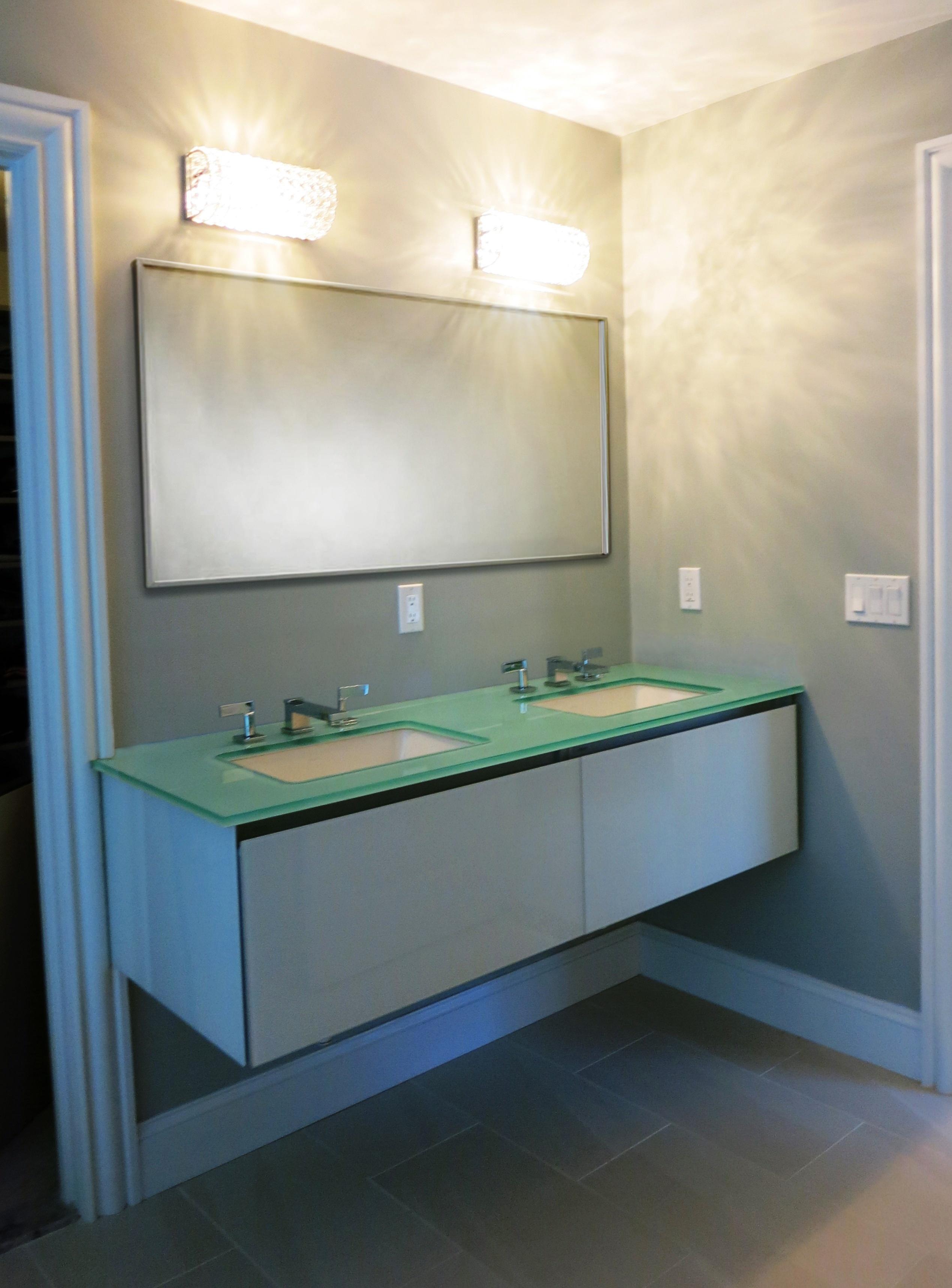 Contemporary bath glass countertop